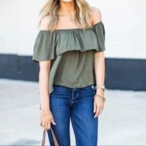 Honey Punch Tops - Honey Punch Olive Off the Shoulder Top